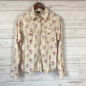 True Grit Floral Pale Yellow Pearl Snap Blouse Sm